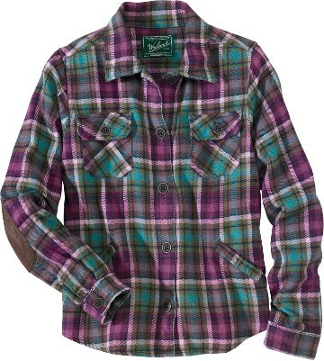 Made of 100% boulder-washed cotton chunky flannel, this traditional lodge jacket will be indispensable on cool days. The vintage style includes faux-suede elbow patches that complement the plaid fabric. Machine washable. Imported. Center back length for size Medium: 23. Sizes: S-2XL. Colors: Onyx, Mulberry, Heirloom Red. - $69.00