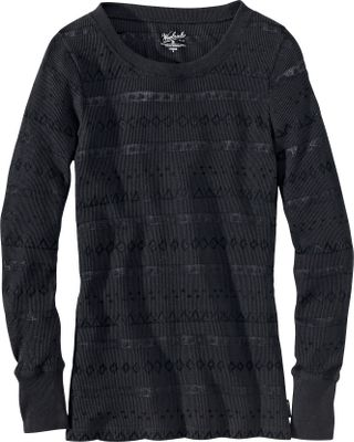 The unique thermal burn-out pattern of this 60/40 cotton/polyester boulder-washed fabric separates this long-sleeve tee shirt from similar garments. The 5.75-oz. blend is great for layering or worn alone. Deep-ribbed cuffs and nicely finished round neck. Imported.Center back length for size Medium: 27.Sizes: S-2XL.Colors: Black, Winter White, Mulberry. - $49.00