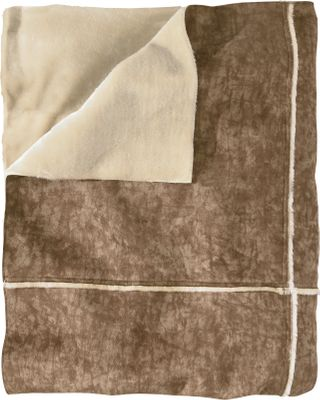 Reminiscent of your favorite worn-in suede coat, this blanket is backed with a faux-fur fabric for the ultimate in warmth and coziness. The pieced-together, patchwork design gives it a contemporary look. 100% polyester faux suede bonded to 100% acrylic faux fur. Imported.Dimensions: 68L x 50W. Type: Throws. - $119.99