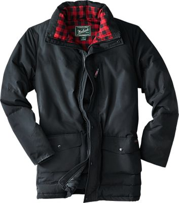 Hunting This classically styled down jacket has just the right amount of extras. Insulated with 550-fill duck-power down and treated with DuPont Teflon for water repellency, this jacket will keep you warm and dry in the coldest temperatures. Extras include a 100% polyester flannel lining in the stand-up collar for added warmth and hidden rib-knit cuffs on the sleeves to keep out the wind. The front closure is doubly protected with a chunky two-way zipper with a leather pull and a wide snap closure placket. The adjustable cord-lok hem shields you from the elements. Left chest security zip pocket, dual entry handwarmer pockets, internal zip and utility pockets, and internal storm placket complete the package. 60/40 cotton/Ramar nylon fabric shell is lined with 100% nylon. Machine washable. Imported. Sizes: S-2XL. Colors: Deep Navy, Black. - $229.00