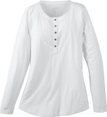 Soft, boulder-washed 7-oz. jersey cotton with henley placket and embroidery around neckline and cuffs. Imported. Center back length for size Medium: 26.5. Sizes: S-2XL. Colors: Atlantic, Onyx, Deep Ruby, Marine, White. Size: Small. Color: Onyx. Gender: Female. Age Group: Adult. Material: Cotton. Type: Long-Sleeve Shirts. - $29.88