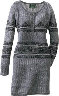 This well cut and contoured sweater dress is great as an everyday outfit, or dressed up for special occasions. Soft and warm 39% lambs wool/34% cotton/27% merino wool blend is comfortable close to the skin. Ladder-back Jacquard construction throughout for optimum flexibility and comfort. Imported.Center back length for size Medium: 33.Sizes: S-2XL.Color: Charcoal Heather. - $69.88