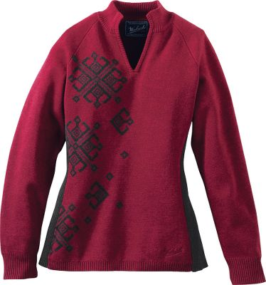 Double-knit, 12-ga. Jacquard weave is thick and warm. Contoured shape and ribbed side panels give this a comfortable fit. Split neck opening with ribbed collar. Imported. Center back length for size Medium: 25. Sizes: S-2XL. Colors: Atlantic, Deep Ruby. Size: M. Color: Deep Ruby. Gender: Female. Age Group: Adult. Material: Jacquard. Type: Sweaters. - $49.88