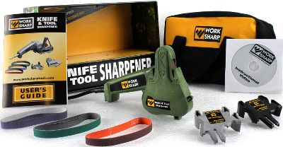 Entertainment Cabelas Exclusive Model Includes Bonus Items! This award-winning, professional-grade sharpener not only repairs, sharpens and hones the edge of every knife you own, but can also sharpen lawn and garden tools with ease. The secret is the flexible abrasive-belt technology, the same used by knife makers and manufacturers. Sharpen all kinds of knives hunting knives, fishing knives, pocket knives, kitchen knives, serrated knives and even scissors with a precise, repeatable angle every time. Includes three sharpening guides: The grey 25 guide is ideal for hunting and pocket knives. The black Cabelas-exclusive 20 open guide is ideal for fillet knives and skinning knives. The green Cabelas-exclusive 20 closed guide is for kitchen cutlery. You can also put a fine cutting edge on axes, lawn-mower blades and many other edged tools. The system comes with two each: coarse P80-grit, medium P220-grit and fine 6,000-grit abrasive belts that are specially engineered for cool grinding and long life, even when working on hardened-steel edges. It also comes with a heavy-duty nylon carry case that keeps your tool and sharpening accessories organized and ready for use. This compact, powerful system can even be operated using any 12-volt system in an RV, boat or vehicle with a power inverter (inverter not included). Instruction manual and demo DVD included. This Cabelas exclusive model is the only one to include three sharpening guides, a carry case and comes in the sportsmans green edition. 6H x 9W x 5D. Color: Garden. - $99.99