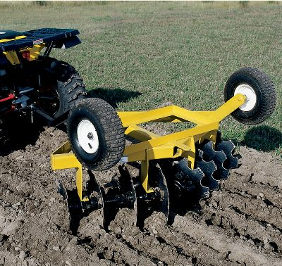 Motorsports This eight-disc cultivator is the ideal choice for tilling gardens or food plots with your ATV or garden tractor. Easily flips over for transport on the 12 pneumatic tires. Eight 16 disc blades are angled for optimum cutting and notched for maximum soil penetration. Cuts a 54 swath. Rear attachment tab on the back for the addition of a drag harrow. Minimum 16hp or 250cc required. Dimensions: 66L x 54W x 35H. Shipping weight: 250 lbs. Color: Garden. Gender: Male. Age Group: Adult. - $749.99