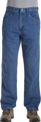 Camp and Hike Wrangler makes their Rugged Wear jeans the old-fashioned way with a pleasing relaxed fit and stretchable 80/20 cotton/polyester 11-oz. denim to last longer than other brands. The relaxed fit of these jeans means they are perfect for working, camping or just hanging out outdoors. Cross fences or hop over streams a lot easier with the built-in U-Fit crotch. No more prying pockets apart to find keys or personal items, since these jeans have easy-entry, extra-deep front pockets. Solid brass YKK zipper. Leather waistband patch. Fit easily over boots. Imported. Even inseam: 28-38. Even waist size: 34-60. Colors: Stonewash. Color: Stonewashed. Gender: Male. Age Group: Adult. Pattern: Stonewash. Material: Polyester. - $37.99
