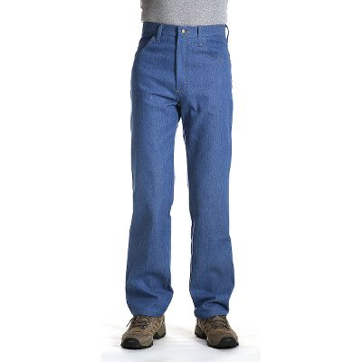 The poly/cotton blend in this stretch denim makes these jeans perfect for active guys who are constantly on the go. The U-Fit crotch adds extra room for freedom of movement. Straight-leg cut fits easily over work or western boots. Easy entry, extra-deep front pockets. Leather waistband patch. Imported. Inseam: 29, 30, 32, 34. Waist sizes: 32-34, 36-60 even. Color: Light Blue. Size: 42. Color: Light Blue. Gender: Male. Age Group: Adult. Material: Leather. Type: Jeans. - $33.99
