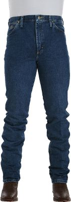 The official jeans of country singer George Strait, and the only style to carry his name. Classic five-pocket styling with a slim fit. Made of 100% heavyweight cotton denim. Boot-cut legs slide easily over your favorite boots. Imported. Inseams: 30, 32, 34, 36, 38, 40. Waist sizes: 28-36, 38-42. Color: Dark Denim. Size: 28-36. Color: Dark Denim. Gender: Male. Age Group: Adult. Material: Cotton. - $50.99