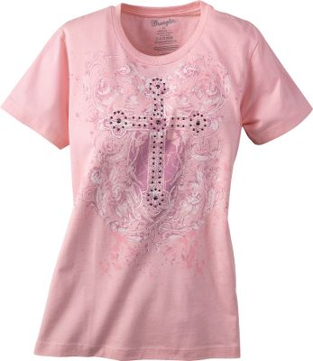 Screen-printed design on front and back, accented with decorative rivets on front. 100% cotton. Imported. Sizes: S-XL. Color: Light Pink. - $9.88
