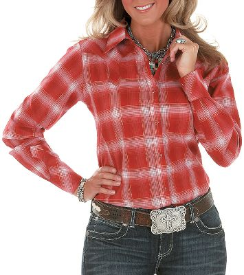 Stylish, comfortable and traditional, yet this long-sleeve Western shirt maintains a distinctly feminine flair. This plaid-pattern shirt features fancy front-and-back biased yokes, fancy cuffs and snaps. Made of 99/1 cotton/metallic. Imported. Sizes: S-2XL. Color: Scarlet. - $9.88