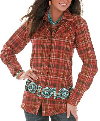 Plenty of traditional accents are crafted into this stylish Western shirt. Outfitted with fancy Western front and back yokes and cuffs, this multiplaid shirt features beautifully embroidered stitching, snaps, and biased side panels and hem. Made of 100% woven cotton for superior softness. Imported. Sizes: S-2XL. Color: Chestnut/Scarlet. - $39.88