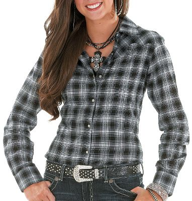 Hit the town or kick up some dust in a Western shirt that glitters with the appeal of Lurex . Snap closures, plaid pattern and fancy Western-style front and back biased yokes enhance the traditional look. 100% cotton. Imported. Sizes: S-2XL. Color: Black. - $9.88