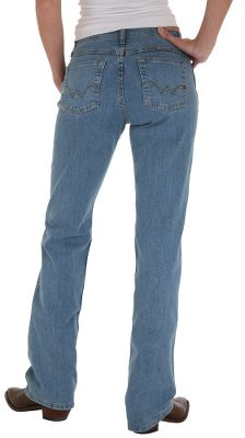 "Designed to be the ultimate riding jeans, they offer trendy Wrangler style for ranch work or rodeo. Made of 12-oz., 98/2 cotton/spandex denim for a stretch-fitting comfort and freedom of movement. Flat seams. No-gap waistband. Mid-rise waist. Imported.Inseams: 32"", 34"". Odd sizes: 3-17 (17 only available in 34""). Color: Blue Breeze. - $34.88"