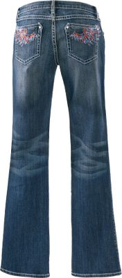 Made of durable 11.5-oz. 99/1 cotton/spandex denim, these jeans feature embroidered, rhinestoned wings on the back pockets. The dark wash fades into the seat for a worn look, and the ultra low-rise design sits lower on the waist for a modern fit. Contrast stitching. Imported.Inseam: 34.Odd sizes: 3-13.Color: Dark Indigo. Type: Jeans. Size: 3. Color: Dark Indigo. Size 3. Color Dark Indigo. - $49.88