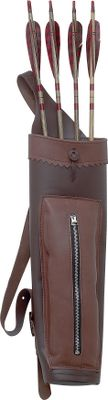 Hunting The Medium Back Quiver is a medium-size leather back quiver that features a zippered pocket that will hold all the archery accessories you need. Divider keeps arrows from rattling. Shoulder strap is adjustable. Quiver holds 12 arrows. Color: Brown. Color: Brown. Type: Back Quivers. - $60.88