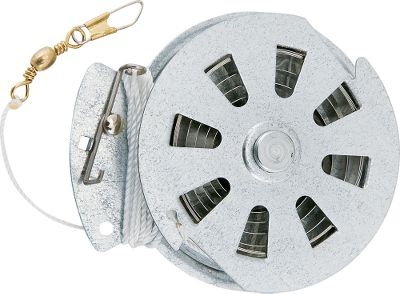 Fishing This automatic fishing reel is great for docks, boats, or bank lines because the hook is set without you being there. Galvanized reel features stainless steel springs. This reel with 60 lb. test line is available per 3 or per 12. Color: Stainless Steel. Type: Automatic Fishing Reels. - $10.99