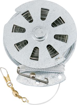 Fishing Weatherproof galvanized fishing reel automatically sets the hook thanks to a tempered steel spring. Fish from docks, limb-fishing or anywhere you can suspend a reel just above the water. Perfect for crappie and catfish. Great for ice fishing. Includes 60-lb. test line. Per 1. Check with local fishing authorities regarding regulations about the use of this product. - $3.99