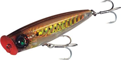 Fishing Rip this floating lure across the water and its loud popping, water-pushing havoc makes it an easy target for predators. Its brilliant finish, etched lateral line and huge 3-D eyes attract even more attention. Durable ABS body with through-wire construction boasts a reflective ultraviolet attack point and through-the-body wire construction. The color-changing technology available in the Sashimi series represents one of the most innovative new technologies in years. They are the only lures that can actually change color. The process is the result of years of development. Yo-Zuri engineers studied baitfish from all over the world to develop the most realistic color schemes. Baitfish change color to try and blend into their environment. They also change color due to stress, making them stand out in the school. These are the ones that game fish key in on as an easy meal. The color-changing Sashimi lures mimic this color-changing behavior of prey fish to commit predatory game fish to the strike. Size: 3-1/2, 7/8 oz. Colors: (012)Bunker, (367)Dorado, (374)Flying Fish, (817)Purple Mackerel. Color: Purple. - $13.88