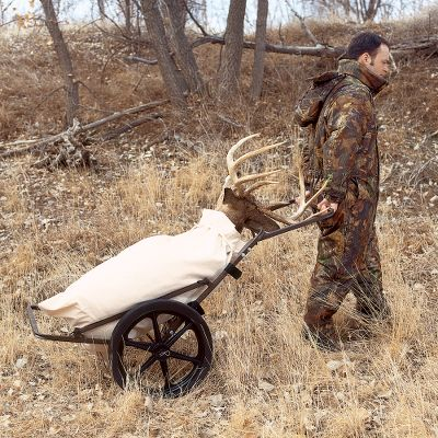 "Hunting Keep it in your trunk, pickup bed or in the back of your SUV for the entire season and you're ready for any game-hauling task. This cart collapses down to a compact 26"" x 10"" x 26"" and weighs only 35 pounds. Setup takes a few seconds and, once unfolded, the cart has a 24"" width and supports up to 300 pounds. The 18-1/2"" wheels make easy work of rugged uneven terrain, and the powder-coated welded-steel frame stands up to serious field abuse. 28""-wide wheelbase. Dimensions: 62""L x 24""W. Folded dimensions: 26"" x 10"" x 26"".Wheelbase: 28"". Weight: 35 lbs.Max capacity: 300 lbs. Type: Game Carts. - $109.99"