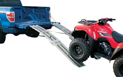 Motorsports Easy to store and transport, these folding ramps are the convenient alternative to non-folding ramps. Arched design allows them to load low-clearance machinery with ease. They're perfectly sized for short-bed pickups when folded. Tread-gripping mesh surface delivers excellent traction. Crafted of welded aluminum with heavy-duty welded hinges. Rubber-coated tabs prevent tailgate scratches. Adjustable straps or chains secure ramps in place. Per pair. Capacity: 750 lbs. (single ramp), 1,500 lbs. (pair). Weight: 35 lbs. per pair. Dimensions (single ramp): Open: 12 x 89 , Folded: 12 x 44-1/2 . - $159.99
