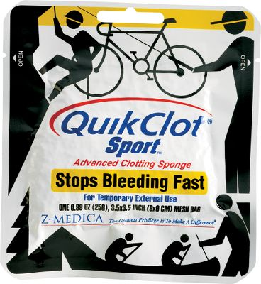 Camp and Hike When youre a long way from trained medical attention, you need a solution that works fast! QuikClot Sport is the professional grade answer to an incident that causes excessive bleeding. Similar to the QuikClot used by the US military, EMS, police and fire departments everywhere, its now available to you. Whether you choose the original QuikClot Sport formula, or the new QuikClot Sport Silver with antimicrobial action, you can be certain that you are using the most widely used and effective hemostatic agent available. Simply remove the innovative sponge filled with QuikClot Sport, apply to the wound using pressure and within a short time the bleeding will stop. Each pouch is a one time application. The 25-gram pouch is designed for smaller wounds and measures 3.5 x 3.5, while the 50-gram pouch is for more serious wounds with greater potential blood loss, measures 5 x 5. Per each. Available: QuikClot Sport 25 gram, 50 gram. QuikClot Sport Silver 25 gram, 50 gram. Size: 50-GRAM SPORT. Color: Silver. - $15.88