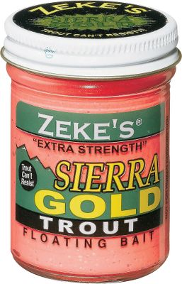 Fishing Put Atlas Mikes Zekes Sierra Gold Trout Bait on your hook, cast it out and hang on. Bait slowly releases potent scent and flavor attractants into the water to draw trout in from great distances. Made using a special combination of scents, vibrant colors and amino acids, it molds easily onto your hook and resists being cast off or washed away. Per jar. Colors: (002)Pink, (003)Corn/Creme, (004)Yellow, (005)Chartreuse, (006)Rainbow, (009)Salmon Peach, (016)Garlic Red, (018)Garlic/Spring Green, (051)Garlic Yellow, (904)Garlic/Rainbow. Color: Gold. Type: Dough Bait. - $3.29