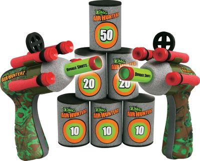 Double the fun with two guns. Set up the can targets and knock them over using air power to fire the suction-cup-tipped darts. Includes two pop-shotz air guns, eight suction-cup darts, two foam-aiming sights, two ammo clips and six foam cans. Ages 8+. - $14.99