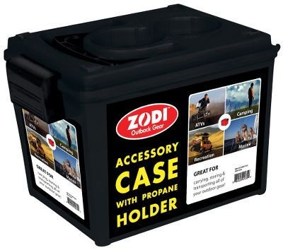 Camp and Hike Extra-sturdy storage case is the ideal complement to your Zodi Outback Gear and camp showers. The case secures your shower system, and the detachable plastic lid features handy cavities to hold propane tanks. Water container not designed for drinking water. Fits the Zodi Hot Tap one- and-two burner systems or the Zodi Zip instant shower to make transport and storage simple and convenient. The case is made in red, black or white and well ship the next available unit. Sorry, color choice not available. Made in USA. Dimensions: 14L x 10W x 10H. Weight: 3 lbs. Color: Black. Type: Shower Storage Cases. - $29.99