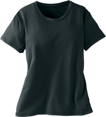 Luxuriously soft and stylish, this tee features a fitted cut and cap sleeves for a feminine look. Moisture-transporting Dri-Balance technology speeds evaporation. Made of 60% Pima cotton, 35% microfiber and 5% Lycra for airy, luxurious softness with shape-holding stretch. Self-fabric collar. Imported.Sizes: S-XL.Colors: Black, Chocolate, Red, Salmon, Sky Blue, White. - $4.88