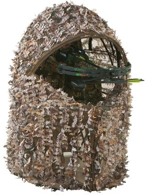 Hunting Folding-chair and camo-cover combo is perfect for quick setup. Realtree XTRA 3-D leafy mesh blends you into your surroundings while still giving you maximum visibility from inside your blind. 100% polyester. Includes carry case. Imported.Available:One Man Blind: 34L x 45W x 54H. Chair: 16H x 20W x 17D. Chair ht. to backrest: 35. Wt: 11 lbs.Two Man Blind: 61L x 52W x 60H. Chair:20H x 56W x 21D. Chair ht. to backrest: 37. Wt: 16.8 lbs.Camo pattern: Realtree XTRA. Type: Chair Blinds. Ground Blind Type: Chair Blinds. Size One Man. - $41.88
