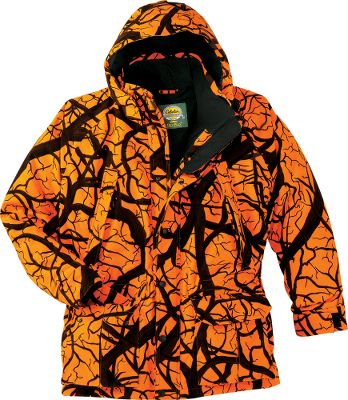 Hunting Equipped with 150-gram Thinsulate , upper handwarmer and removable hood, this weatherproof parka is ideal for cold-weather hunts. Pockets have snap-close storm flaps with zippers behind. Large cargo pockets have shell loops inside and handwarmers behind. Velcro-adjustable cuffs. Special optics pocket inside storm flap. Scent-Lok scent-adsorbing technology reduces game-spooking human odors. Imported. Sizes: S-5XL. Camo patterns: Blaze Horizon, Blaze Orange. - $114.88