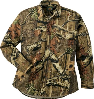 Hunting This long-sleeve cotton chamois shirt is made of heavyweight, rugged, 9-oz. 100% cotton chamois that's always soft, comfortable and, most important to hunters, quiet. Chamois is the perfect material for shirts because it is not only strong and durable, but also soft and comfortable. All of our chamois shirts feature double-needle, lap-fold seams that won t come apart. Each is cut full for unrestricted movement in any activity and can be worn as either an outer or inner garment in your layered clothing scheme. On mild days it makes a tough outer layer. Extra-long tails stay tucked in. Two button-close flap pockets. Smooth nylon interior. Machine washable. Imported.Sizes: M-3XL. Camo pattern: Mossy Oak Break-Up Infinity . - $22.88
