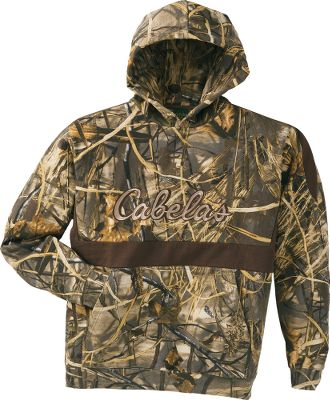 Hunting The long-lasting comfort and versatility of this Heavyweight Waterfowler Hoodie make it a natural addition to any waterfowler's wardrobe. Ideal as a stand-alone top during warm-season hunts, or as a midlayer during the colder months. Made of fleeced, 420-gram, 60/40 cotton/polyester. Knit cuffs. Embroidered Cabela's logo. Imported. Sizes: M-3XL. Camo patterns: Mossy Oak Duck Blind , Realtree MAX-4 - $29.88