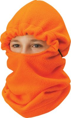 Hunting Made of 200-weight polyester fleece to provide hunters with the water resistance and quietness needed to complete their hunting outfit. Cinched hood adjusts with a cord-locked drawstring to several different positions for partial head, neck and face protection, or extend the entire neck for complete protection. Can be worn with a cap or glasses. Stays soft through repeated washings. One size fits most. Imported. Camo patterns: Blaze Orange, Mossy Oak Break-Up, Realtree XTRA. Size: One Size. Color: Blaze. Age Group: Kids. Pattern: Camo. Material: Fleece. - $19.99