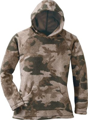 Hunting The lofty warmth and dependable silence of Microberber fleece, now in a version designed specifically for women hunters. Perfect for layering or stand-alone wear, this 55/45 acrylic/polyester silver-knit Microberber fleece offers heat-trapping warmth, long-wearing durability and easy-care convenience. Lined with polyester high-count tricot for comfort. Raglan sleeves and a kangaroo handwarmer pocket. Imported. Sizes: S-2XL. Camo pattern: Outfitter Camo. - $34.88