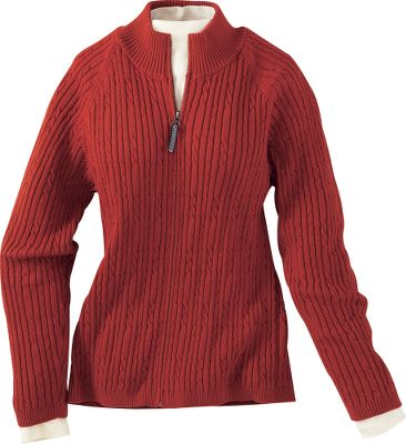 "Enjoy the pleasing softness of the 100% cotton cable knit. 2x2 rib knit graces the cuffs, sweep and stand-up collar for cozy comfort. The full-length YKK zipper. Machine washable. Imported. Center back length for size Medium: 23"".Sizes: S-2XL. Colors: Black, Paprika. - $14.88"