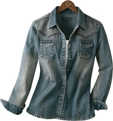 The relaxed touch of ringspun cotton denim with a drop yoke that captures the Wild West. Decorative embroidery stitching. Garment-washed and sandblasted for a weathered look. Princess seams. Semifitted. Machine washable. Imported. Sizes: S-2XL. Color: Vintage Indigo. - $39.99