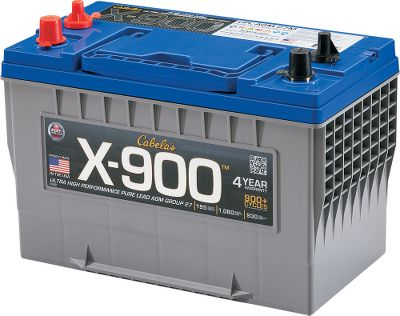Motorsports You cant go wrong with the incredible cranking, fast recharge, minimal maintenance and impressive four-year warranty you get with Cabelas X-900 Pure Lead AGM Battery. This battery provides 1,010 to 1,370 marine cranking amps and an ample 160 to 220 minutes of reserve capacity. Cycles over 900 times at 50% discharge and recharges much faster than conventional 12-volt batteries. Plus, advanced AGM construction means no water levels to check or terminals to clean. Comes in a reinforced plastic housing for maximum durability. Manufacturers four-year warranty. Made in USA. - $349.99