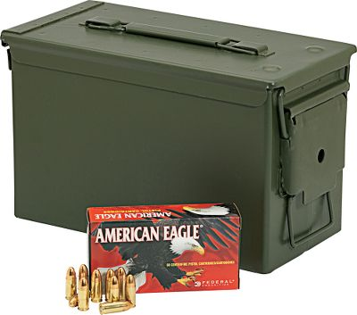 Rely on top-notch performance from the affordable Federal American Eagle Ammunition with Ammo Can, which is specifically engineered to meet the needs of high-volume shooters. Reliable and accurate, these loads feature new-manufacture reloadable boxer-primed brass cases, clean-burning powders, noncorrosive primers and bullets. Each lot comes packaged in a mil-spec metal ammo can, a $20 value, thats perfect for long-term ammo storage, organization and transportation to the range. Made in USA. Available: FNH 5.7x28mm Bridges the gap between the 9mm ammunition and the 5.56x45mm. Designed to operate in the FNH USA Five-Seven handgun and the PS-90 semiautomatic carbine. Loaded with a 40-grain Hornady V-Max bullet. This is SS197SR version ammunition. Per 500. 9mm Features 115-grain FMJ bullets. Per 500. .40 SW Features 165-grain FMJ bullets. Per 350. .45ACP Features 230-grain FMJ bullets. Per 350. .38 Special Features 158-grain Lead Round Nose bullets. Per 400. Type: Centerfire Handgun. - $159.99