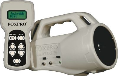 Hunting A compact, 1.5-lb. horn speaker with 24 reprogrammable FOXPRO sounds. Unit includes an external speaker jack, powerful amplifier, auxiliary jack that connects to the FOXPRO Jack-in-the-Box decoy and low-battery indicator. Remote control has volume up and down buttons, mute, auxiliary button, and a backlit LCD screen that displays the name of the sound. Horn is powered by four AA batteries. Remote is powered by 9-volt battery. (Batteries not included). Included Calls: Coyote Locator, Coyote Male Challenge Scream, Female Coyote Bark Howl, Female Coyote Long Howl, Coyote Pup Scream, Coyote Pup Howl, Scream-n Gray Fax, Juvenile Red Fox Distress, Bobcat in Heat, Lightning Jack, Jackrabbit Distress, Snow Shoe Distress, Bay Bee Cottontail, Distressed Calf, Whitetail Buck Fawn, Vole Squeaks, Roar-n-Red Squirrel, Prairie Dog Distress, Lucky Bird, Raspy Woodpecker, Ranting Red Bird, Raccoon Fight, Crow Fight. Color: Coyote. Type: Electronic Game Calls. - $159.88