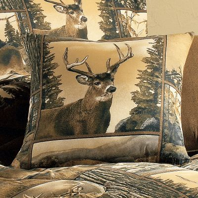 "Hunting Features the ever popular patchwork layout. Spot clean only. Imported.Size: 18"" x 18"".Styles: Deer Life, Majestic Moose. - $24.99"