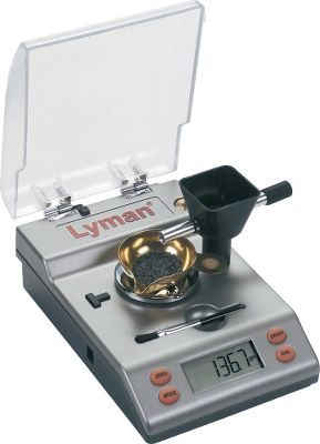 A 1,500-grain scale with impressive features. Its removable powder trickler works in right- or left-hand mode. Accurate to 1/10 grain. Handy pop-out tray for storing accessories. Includes calibration weight, dust cover and cleaning brush. Operates on 9-volt battery (not included) or included AC adapter. - $164.99