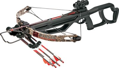 "Hunting An introductory-level crossbow that shares several features with Parker's top-of-the-line models. The all-metal G2 trigger system has no creep and breaks cleanly shot after shot. It's also outfitted with an ambidextrous auto-engage safety and an anti-dry-fire device. The vented forearm and safety finger flange are built into the front end of the open-style pistol-grip stock. Shoots 400-gr. bolts up to 285 fps. Crossbow bolts not included. Power stroke: 11"". Draw weight: 150 lbs. Stock length: 37-1/4"". Width: 23-3/4"". Weight: 7.1 lbs. Camo pattern: Realtree MAX-4 .BushWacker 150 Package includes: crossbow, 3X multireticle scope and quiver. Crossbow bolts not included. - $299.88"