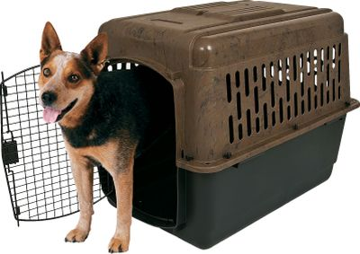 Hunting Solid, durable, liquid-resistant polypropylene construction and 360 ventilation provide comfort, security and fresh air for your large four-legged buddy. Camouflage top unfastens for easy cleaning. Black base features bottom storage. Steel doors use bolt-and-wing nut fasteners for security. Tie-downs allow safe transport. Airline approved. Made in USA. Sizes: 36 (36L x 24W x 26H) Weight capacity: 70 lbs. 40 (40L x 27W x 30H) Weight capacity: 90 lbs. Size: 36. Color: Camouflage. - $89.99