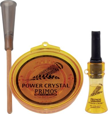 Hunting Enjoy the performance to two proven turkey calls in a combo pack that saves you money compared to purchasing the calls separately. It includes the loud Power Crow, Primos' top turkey locator call, for tricking gobblers into revealing where they are. It can also be used to call in crows. You also receive the Power Crystal high-pitched friction call. Its super-hard surface teams with the acoustics produced by the pot's internal sounding board to create loud, long-range turkey sounds. Hardwood striker included. Type: Friction Calls. - $24.99
