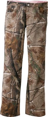Hunting Rugged denim construction, along with slightly flared legs, gives these pants durability without sacrificing comfort. The versatile Realtree AP camo ensures you stay hidden in a wide range of vegetation. Two front pockets keep essentials at hand. Machine washable. Imported.Inseam: 32.Sizes: 8-18.Camo pattern: Realtree AP. Type: Pants. Size: 14. Camo Pattern: Realtree AP. Size 14. Color Realtree Ap Hd. - $29.99