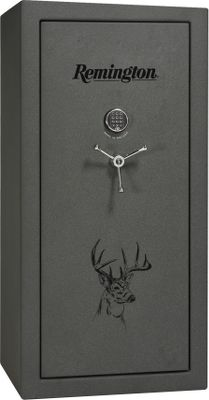 Hunting Showcasing a stunning whitetail scene on the doors, these Cabelas-exclusive safes help you store firearms and valuables with the confidence that theyre protected from both fires and thieves. Three-sided, 1-thick pin-bolt coverage, 11-gauge, two-piece body construction and electronic locks make these extremely safe and nearly impervious to break-in attempts. Internal ball-bearing hinges offer smooth opening, closing and tight locking. Contents are protected from heat and flames for up to 60 minutes at 1,200F. 3-in-1 Flex interiors. Remington 25 features a grey marble finish and 23 cu. ft. of storage space that accommodates up to 25 guns and weighs 605 lbs. Remington 48 weighs 760 lbs., and boasts a granite-texture finish, 32 cu. ft. of storage space to store up to 48 guns and an E-lock for added security. Made in USA. Color: Grey. - $1,299.99