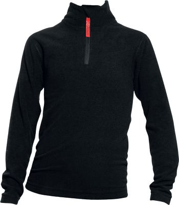 Soft microfiber fabric wicks moisture away from the skin to keep him dry and warm. Anti-pilling, double-brushed surface on both the inside and outside of the garment ensures better thermal retention. Zipper garage at the top of the neck prevents irritation. 100% polyester. Imported.Sizes: S-L.Color: Black. - $7.88