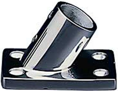 "Entertainment Zamak or Stainless Steel 60 Rail Fitting with rectangular rail base for attaching railings to the deck. Rail fittings fit 7/8"" rail. Per each.Dimensions:3-1/8""L x 1-3/4""W. - $3.88"