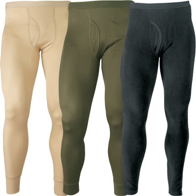 Hunting Be prepared for all winter temperatures. Each All-Weather Combo contains a set of three bottoms, each with varying degrees of cold-weather protection: lightweight, midweight and heavyweight. Purchase tops separately to create full sets. The 95/5 polyester/spandex blend is quick-drying and moisture-wicking to keep you comfortably dry. Reinforced spandex on cuffs promotes freedom of movement. Nonabrasive flatlock seams. Antimicrobial finish controls odor. Imported. Sizes: M-2XL.Colors: Khaki (lightweight), Olive (midweight), Black (heavyweight). - $19.99